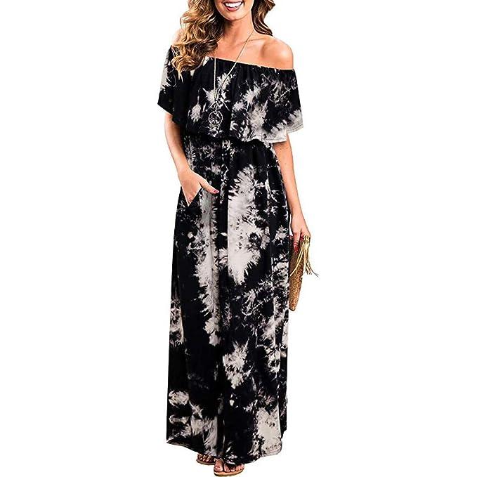 6a6007652d82 kemilove Womens Off The Shoulder Ruffle Party Dresses Tie Dye Split Maxi  Long Dress Black