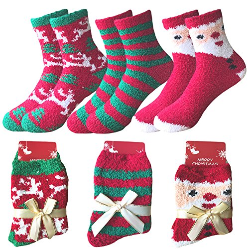 Women's Christmas Holiday Winter Warm Fuzzy Fluffy Socks Super Soft Thick Cozy Home Slipper Socks For Xmas Gift (Pack of 3),Multi-1,Free