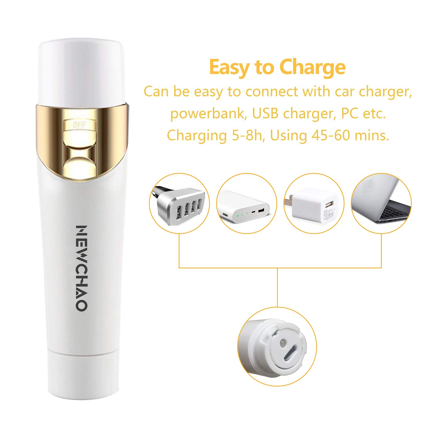 Facial Hair Removal for Women Hair Remover, 5 in 1 Painless Facial Body Shaver, Eyebrow Razors Epilator, Nose Bikini Hair Trimmer with USB Charging