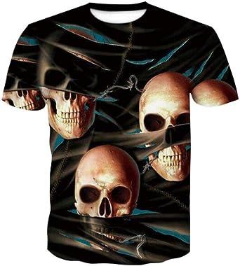 Nueva Camiseta de Verano de Estilo 3D con Estampado de Calavera, Hombres y Mujeres de Alta definición Harajuku, Camisa de Manga Corta, Ropa de Moda @ 3XL_Good: Amazon.es: Ropa y accesorios
