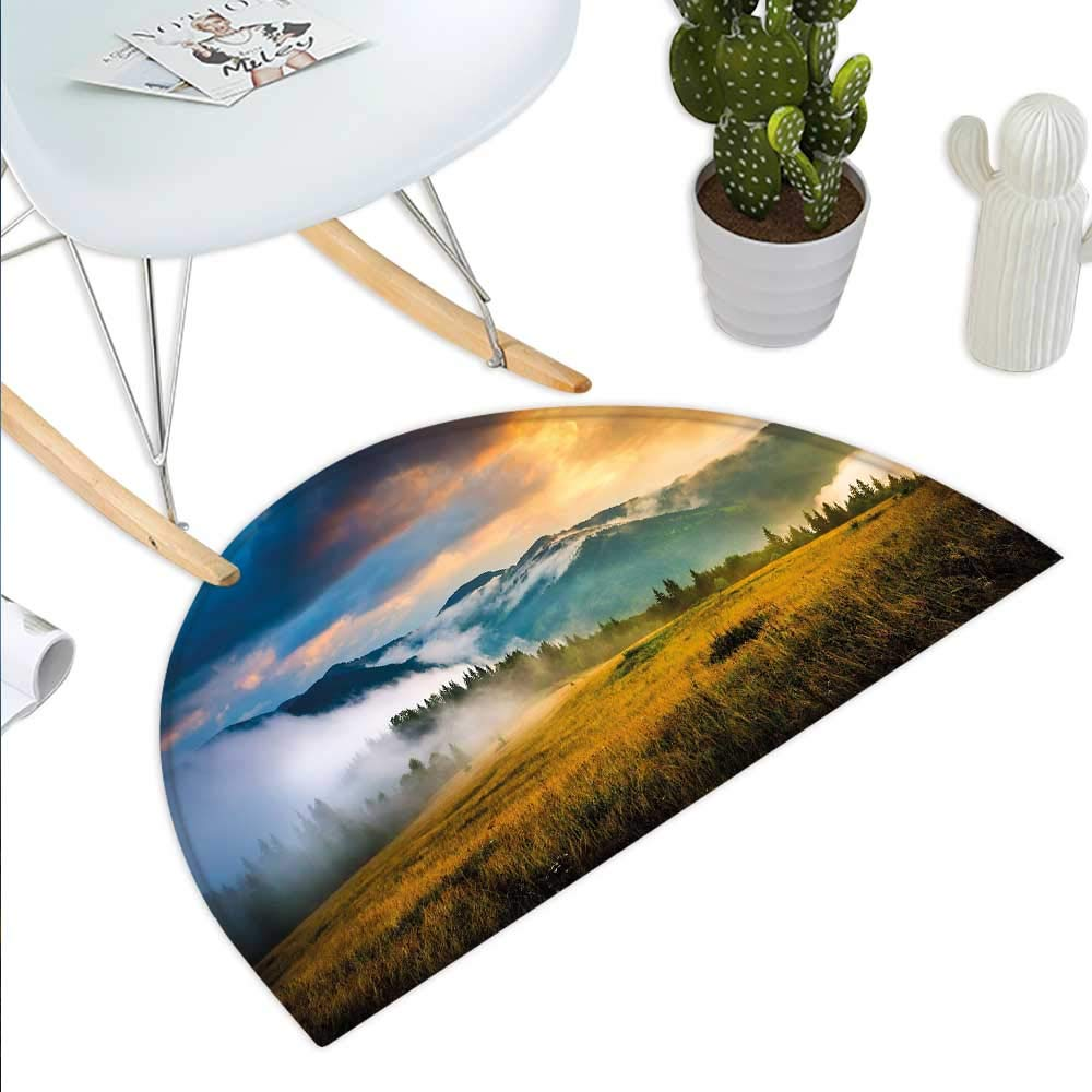 color09 H 47.2  xD 70.8  Landscape Semicircle Doormat Road in The Alps Small Town with colorful Houses Clouds Clear Sky Rural Scenery Halfmoon doormats H 27.5  xD 41.3  Multicolor