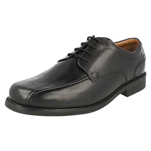 Clarks Men's Lace-Up Derby Shoes Beeston Stride Black Leather