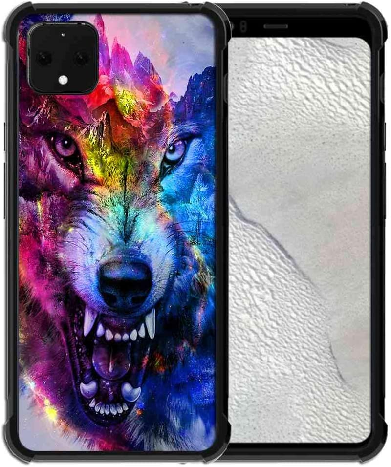 for Google Pixel 4 XL Case Space Galaxy Nebula Wolf Pattern, ABLOOMBOX Slim Thin Anti-Scratch Flexible Bumper Case with Reinforced Corner for Google Pixel 4 XL Phone Case (2019)