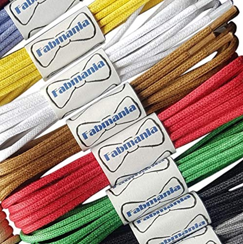 Thin Round White Waxed Cotton Shoelaces - 18'' / 45 cm length - Thin laces for dress shoes and boots. by Fabmania (Image #2)