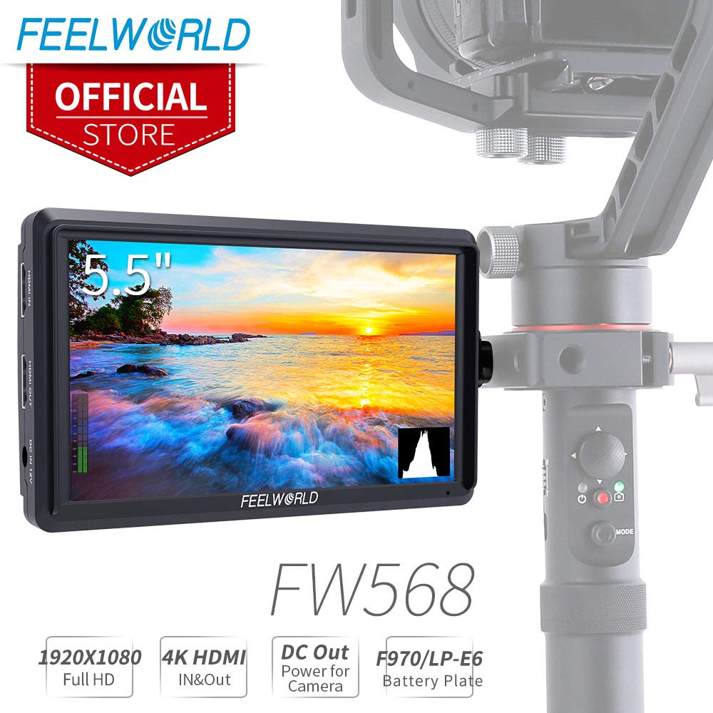 FEELWORLD FW568 5.5 inch DSLR Camera Field Monitor Video Peaking Focus Assist Small Full HD 1920x1080 IPS with 4K HDMI 8.4V DC Input Output Include Tilt Arm by FEELWORLD