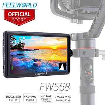 FEELWORLD FW568 5 5 inch DSLR Camera Field Monitor Video Peaking Focus  Assist Small Full HD 1920x1080 IPS with 4K HDMI 8 4V DC Input Output  Include