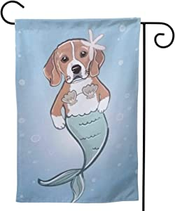 MINIOZE Mermaid Blue Art Cute Funny Beagle Dog Party Themed Flag Welcome Outdoor Outside Decorations Ornament Picks Garden Yard Decor Double Sided 12.5X 18 Flag