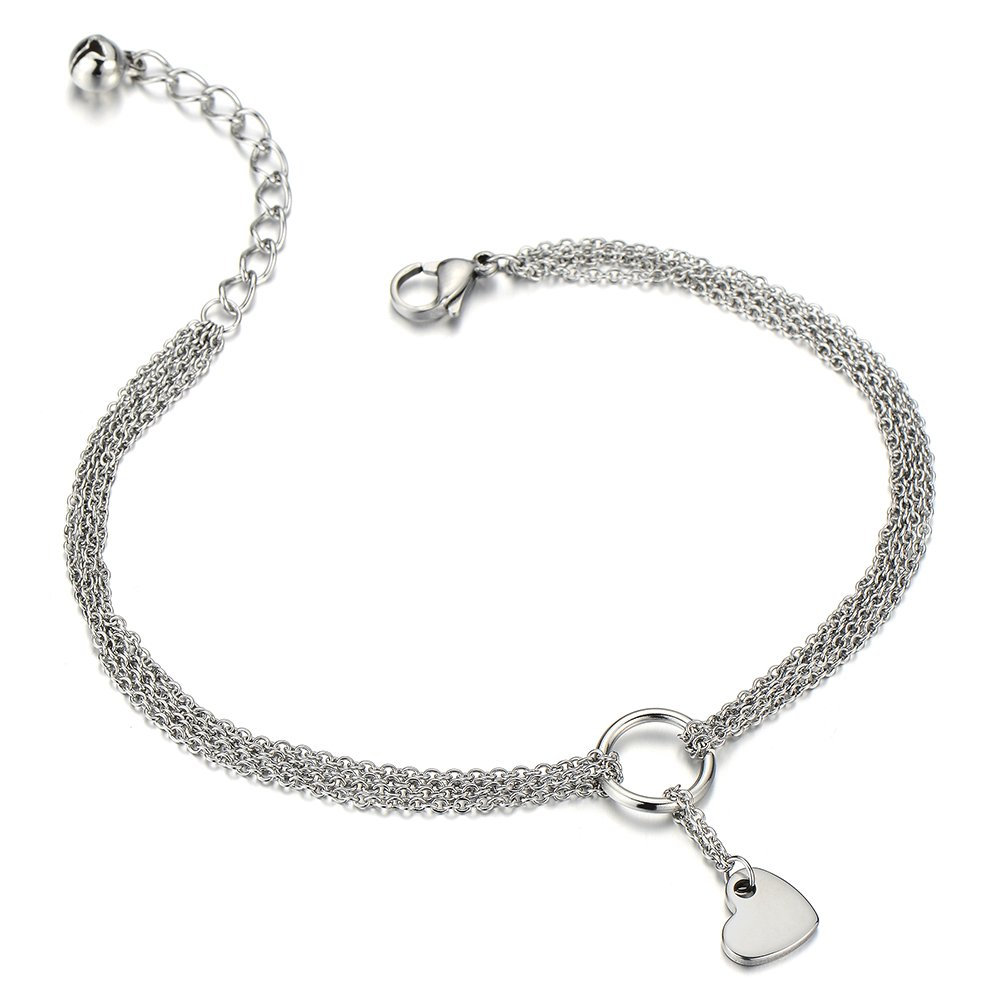 Stainless Steel Multi-Strand Anklet Bracelet with Dangling Charms of Hearts COOLSTEELANDBEYOND FA-45-CA