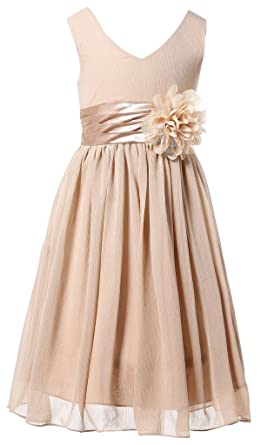 Bow Dream Flower Girl Dress Junior Bridesmaids V-Neckline Chiffon Champagne  2 605dd506c71a