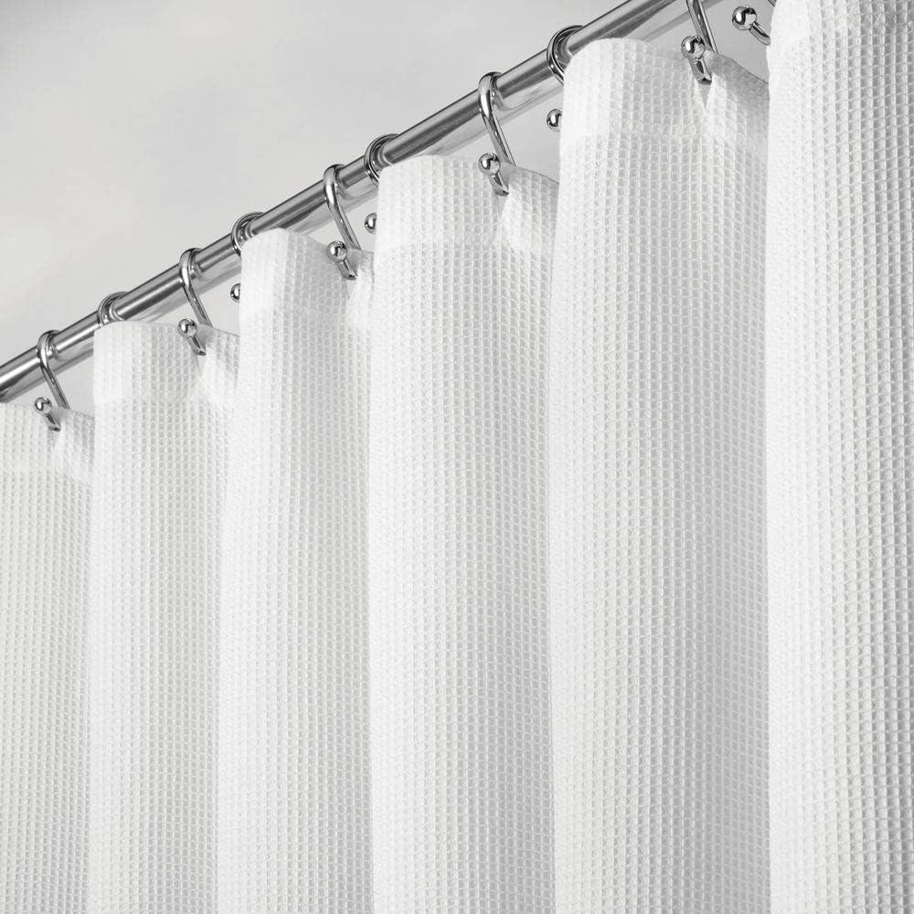 Cortina de Ducha de Tela con Estampado Moderno Cortinas de ba/ño 100/% de Suave Tejido de poli/éster 183 cm x 183 cm Elegante Accesorio de ba/ño mDesign Color: Blanco