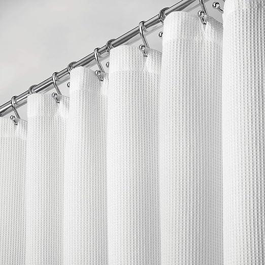 mDesign Cortinas para baño 100% algodón – Cortinas de ducha ...