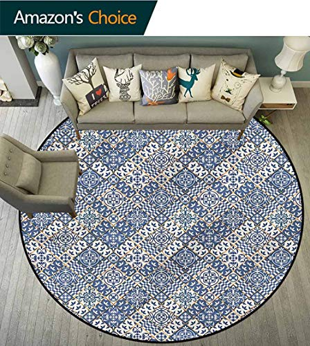 RUGSMAT Moroccan Round Rugs for Bedroom,Squares and Rectangles Non-Slip No-Shedding Kitchen Soft Floor Mat Diameter-59