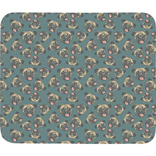 Funny Happy Pug Fest Blue Mouse Pad Natural Rubber Excellent Cloth Mousepad Stable No Slip Easy to Clean Office Home Computer Laptop Durable Rectangle Officework 200X225 Mm Mouse Mat