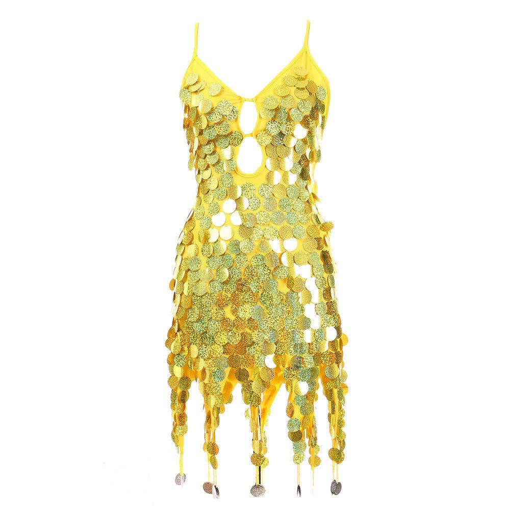 Rambling 2019 New Women Latin Dance Costume V Neck Sequined Fringed Skirt Competition Dress