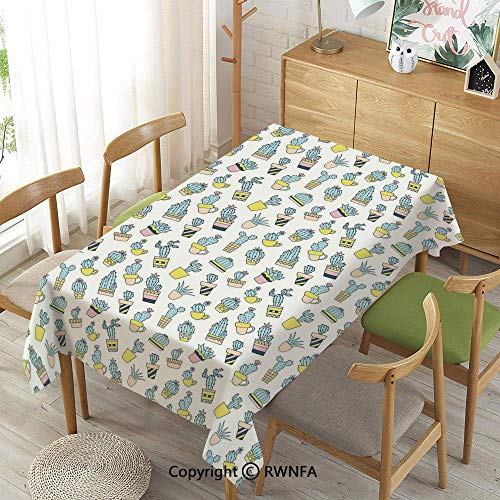 (Homenon Decorative Rectangular Table Cloth,Cartoon Hand Drawn Foliage in Vases Latin American Inspirations Botanical Decorative,Waterproof Wrinkle Resistant,Blue Yellow Pale Pink,55