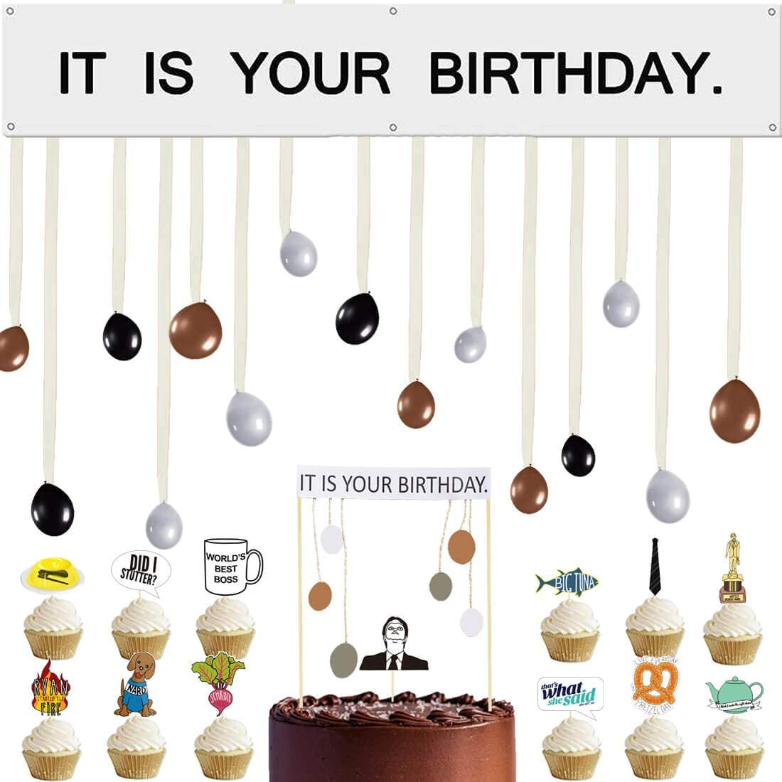 It is Your Birthday Banner, The Office Dwight Theme Infamous Husband Birthday Party Decorations The Office Cake Topper Party Merchandise by Dwight K. Schrute Baby Boy Photo Booth Props