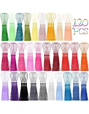 Tassels, Cridoz 120Pcs Bookmark Tassels Silky Handmade Soft Craft Mini Tassels with Loops for Bookmarks, Crafts and Jewelry Making, 30 Colors