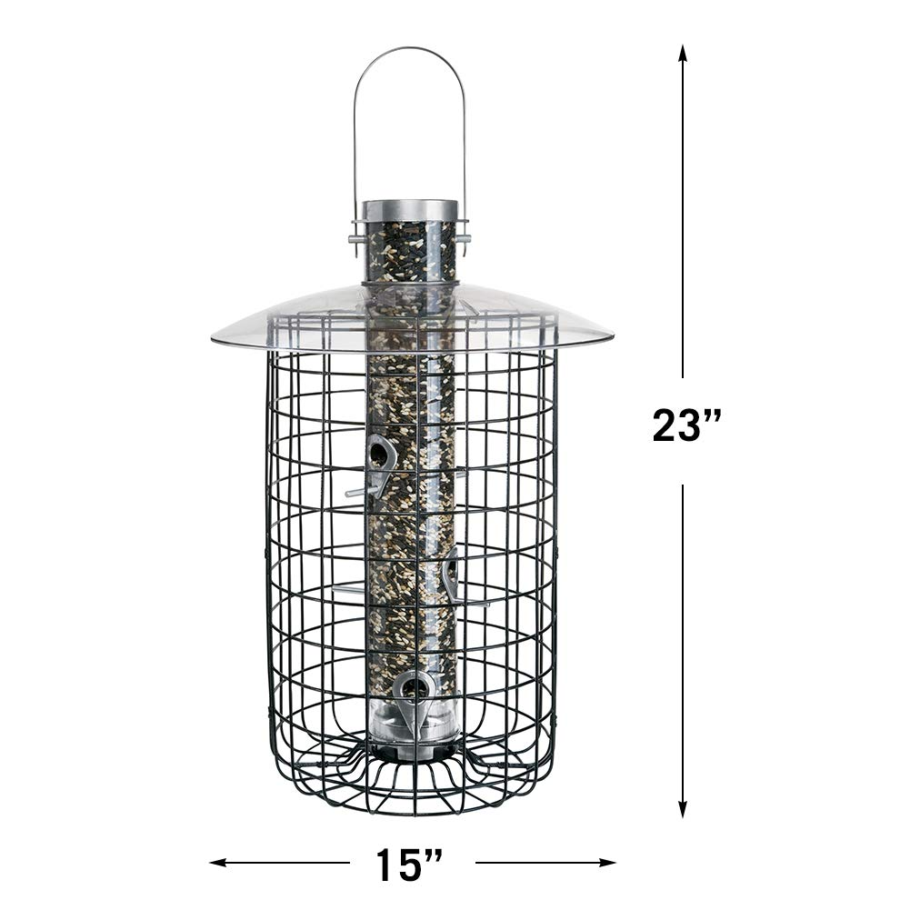 Droll Yankees Domed Cage Sunflower Seed Bird Feeder, 20 Inches, 6 Ports, Black by Droll Yankees (Image #2)