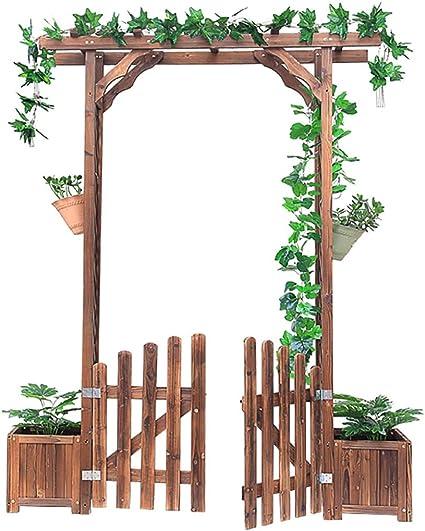 Arco de Rosas de Jardín Pérgola para Jardin con 2 Jardines Arco de Jardin para Plantas Arco para Rosas Arco de Flores para Jardín Patio Terraza Madera de Pino Verde - 172X41X220cm: