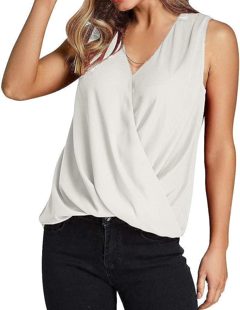 Casual Shirt Women Short Sleeve,Selinora Ladies Zipper Sleeveless Casual Vest Blouse Ladies Summer Loose T Shirts Top