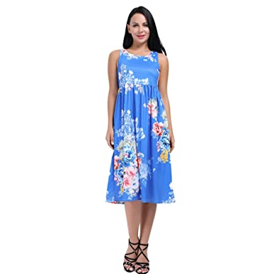 7110acf8e6d9 HUHHRRY Women s Floral Summer Dress Racerback Sleeveless Casual Tunic Mid  Length Maxi Dresses - Blue -