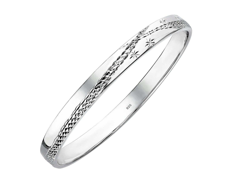 Sterling Silver Slip On Bangle Bracelet with Diamond Cut Crossover Pattern