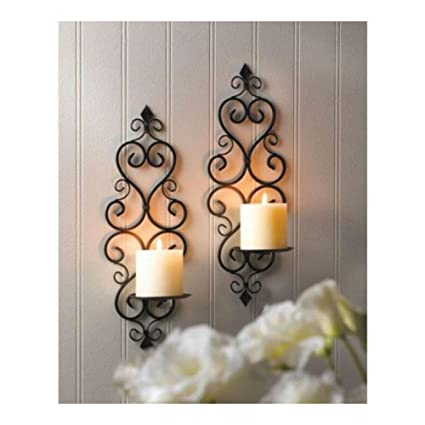 Amazon Com 2 Scrollwork Sconce Candle Holder Wall Decor