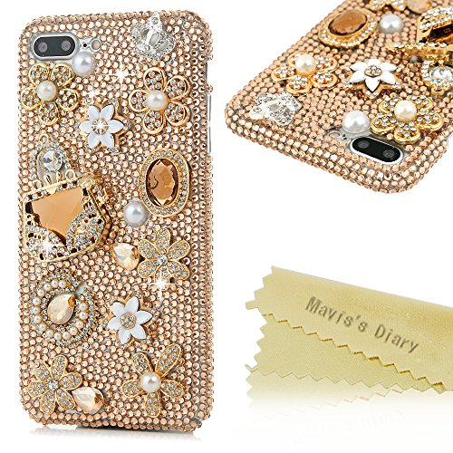 iPhone 7 Plus Case (5.5 inch) - Mavis's Diary 3D Handmade Luxury Full Diamonds Bling Crystal Golden Diamond Flowers Fancy Handbag Shiny Crown [Full Edge Protection] Clear Hard PC Cover