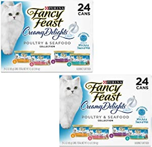 Purina Fancy Feast Creamy Delights Adult Wet Cat Food - (24) 3 oz. Cans (4 Flavor Poultry & Seafood Creamy Collection, 3 oz (Pack of 48))