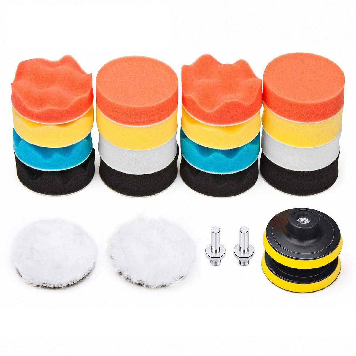 Car Foam Drill Polishing Pad Kit 22 PCS, 3 Inch Buffing Pads by Petutu