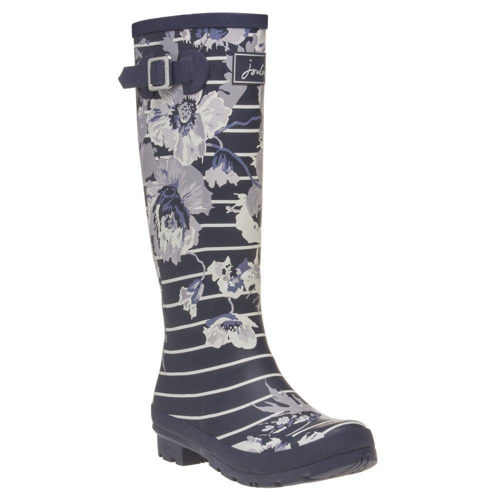Joules Tall Welly Print French Navy Posy Stripe Womens Rain Boots Size 9M