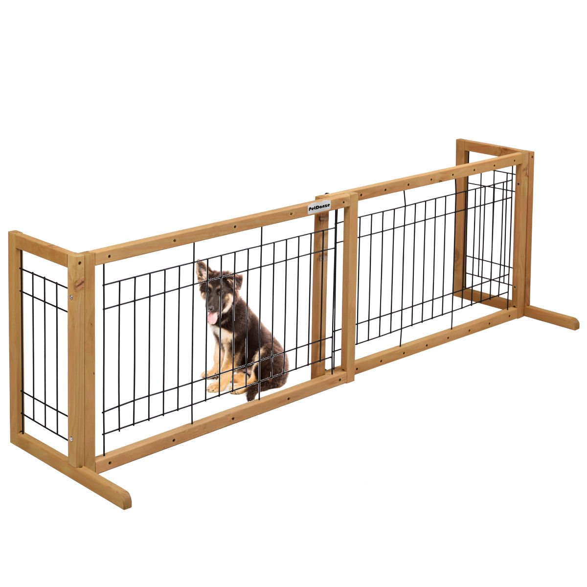 PetDanze Free-Standing Pet Gates | Extra Wide Indoor Small Dog Gate | Expandable Puppy Safety Gate | Wooden Long Door Pet Gate | 40'' to 71'' Adjustable