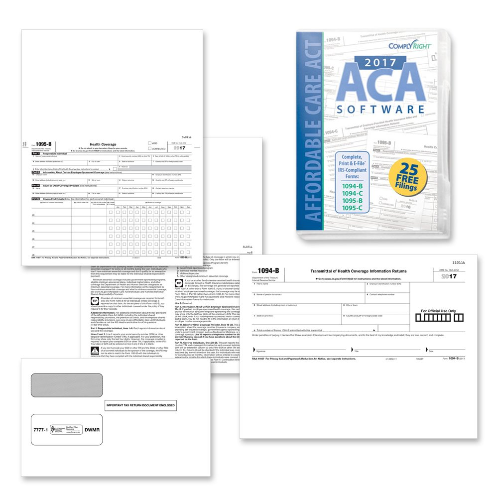Form 1095-B Health Coverage and Envelopes with ACA Software (includes 3 1094-B transmittal forms), Pack of 50 Forms