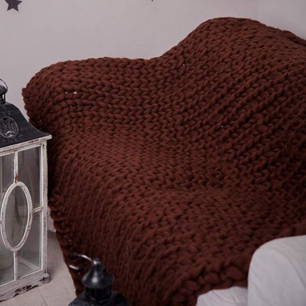 Coffee Brown Super Chunky Knit Blanket Hand Vegan Merino Chunky Throw Blanket 79x79in Giant Knit Blanket New Year Present by JohnWhitley (Image #3)