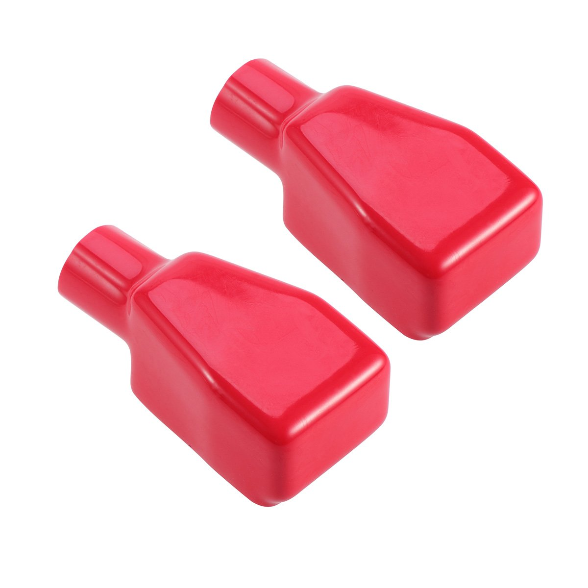 WINOMO 2PCS Positive Battery Terminal Covers Top Post Flexible Car Battery Terminal Insulating Protector Caps - Size L (Red)