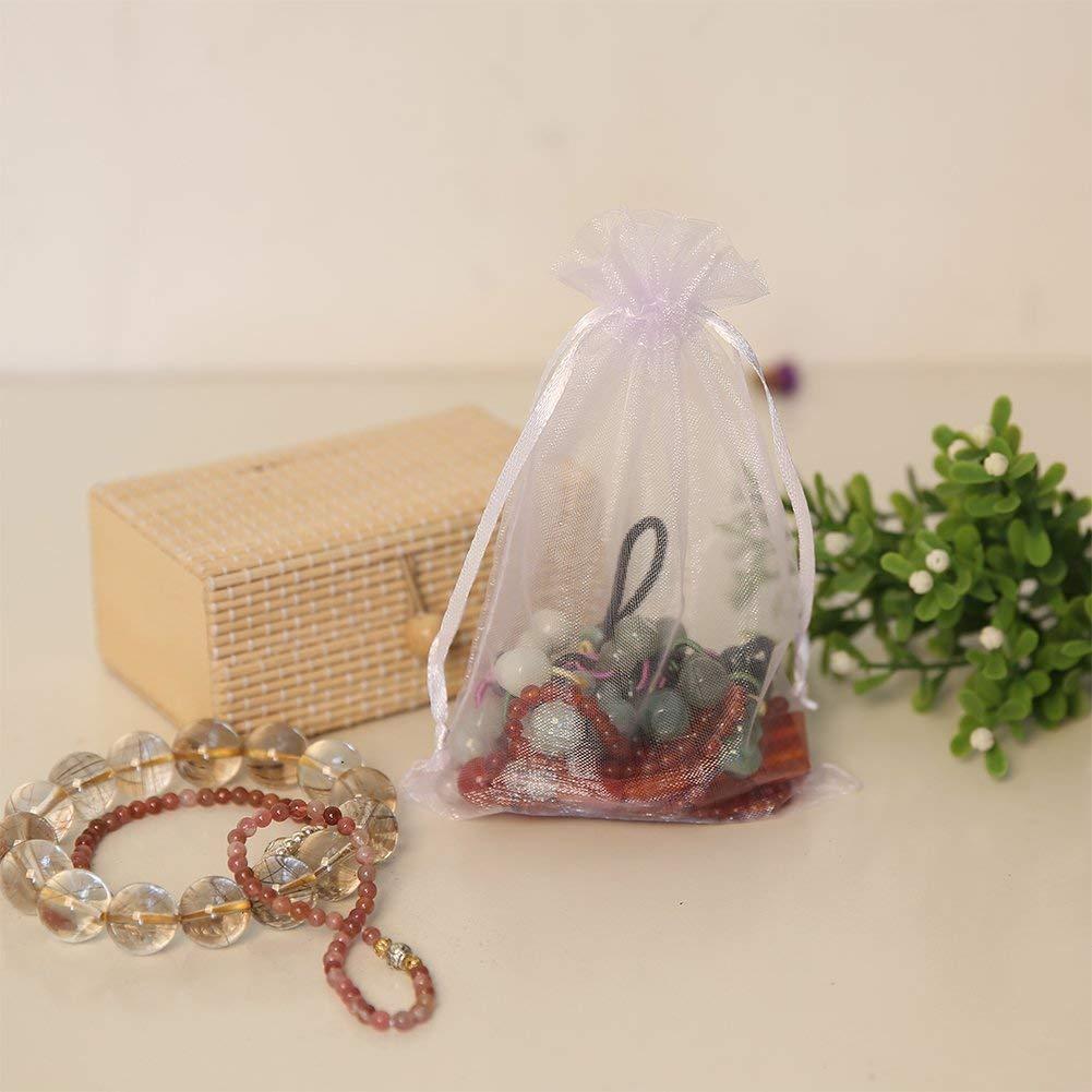 Bocotoer Pochette De Cadeau Blanc Sachet Rouge en Organza 12X17cm 50Pcs