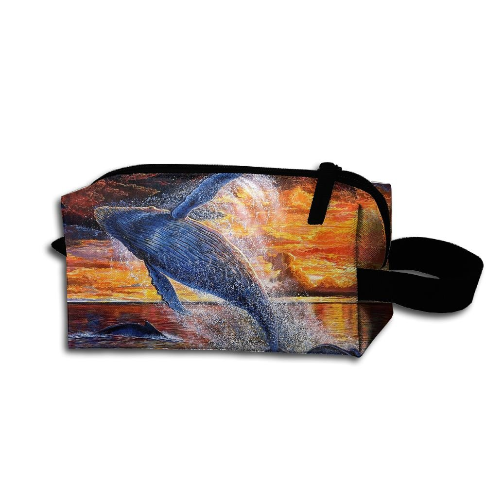 Makeup Cosmetic Bag Animals Colors Sea Whales Zip Travel Portable Storage Pouch For Men Women