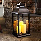 Medium Battery Operated Indoor / Outdoor Candle Lantern in Black