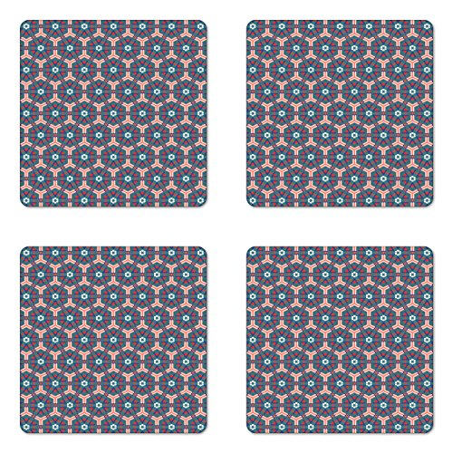 (Ambesonne Traditional Coaster Set of Four, Moroccan Mosaic Tiles Hexagonal Ornamental Victorian Ceramic Style Baroque, Square Hardboard Gloss Coasters for Drinks, Multicolor)