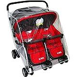 ELECPRO ベビーカー用レインカバー 2人乗り 横並び型 双生児用 ビッグサイズ ベビーカーレインカバー メッシュ窓付き 両対面 汎用型 無臭(2人乗 横型)