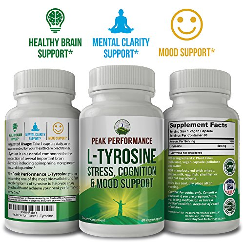 L-Tyrosine for Adrenal Health Support by Peak Performance. Amino Acid Supplement for Balanced Cortisol Levels, Mental Clarity and Mood Support. Reduce Brain Fatigue and Brain Fog (1 Pack) by Peak Performance Coffee (Image #1)