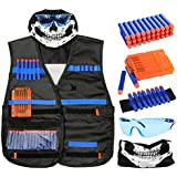 Harlerbo Tactical Nerf Gun Vest Kit for N-Strike Elite Seriess - Foam Darts, Quick Reload Clips, Face Mask, Goggles and Wrist Band, Gift for Kids