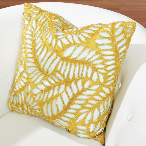 Frond Pillow-Solar/Aquamarine by Studio A