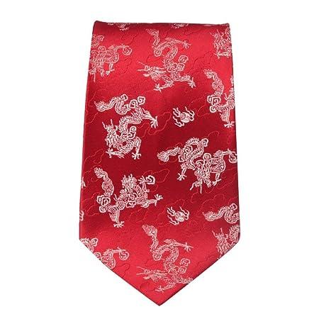 JINQD Home 9 cm Rojo Blanco Chino dragón Nube Corbata Estilo Chino ...