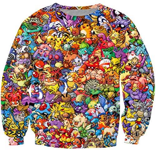 Unisex Pokemon 3D Sweatshirt Anime Sweat Print Pikachu Hoodies Tops