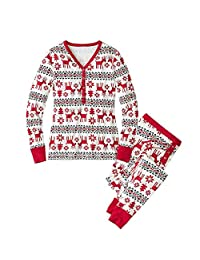 Q&Y Family Matching Christmas Pajamas Set Women Baby Kids Deer Sleepwear Nightwear