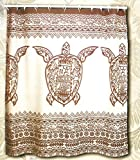 Hawaii Theme 100% Polyester Fabric Shower Curtain Brown Sea Turtle