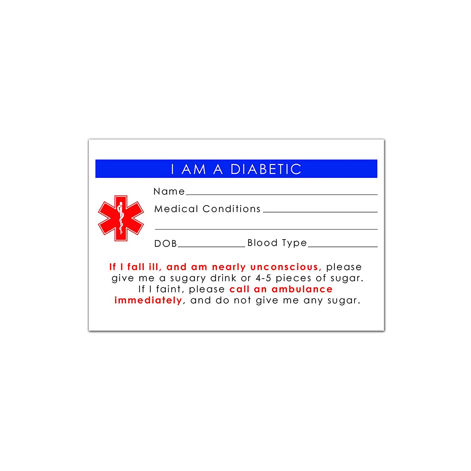 Amazon.com: 5-Pack Diabetic Medical Alert ID Wallet Card Emergency 2.15 * 3.35 inch (5): Health & Personal Care