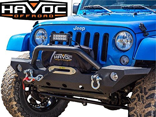 Havoc Offroad Jeep Wrangler Wrecking Ball JK Front Winch Bumper with Factory Fog Light Mounts 2007-2017