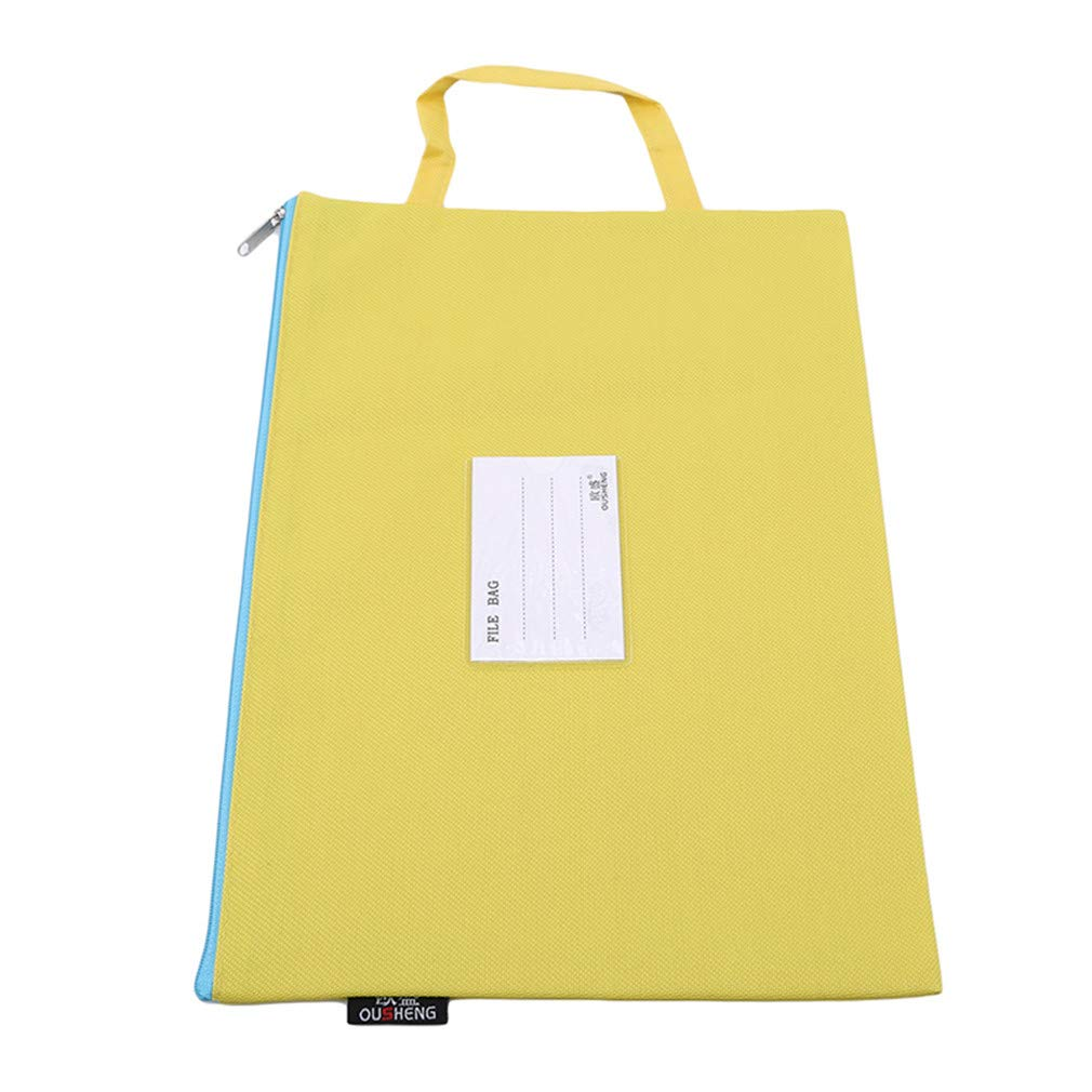EH-LIFE A4 Size File Folder Zipper Bag Side Mesh Pocket Office Document Bag Yellow